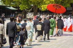 De Japanse ceremonie van het shintohuwelijk Stock Foto