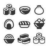 De Japanse Geplaatste Pictogrammen van het Sushivoedsel Vector Royalty-vrije Stock Foto
