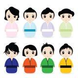 De Japanse Geplaatste Vrouwen van het beeldverhaal Royalty-vrije Stock Afbeeldingen