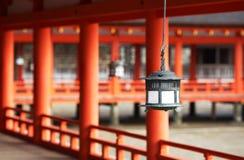 De Japanse Lantaarn van Traditonal bij Heiligdom Ktsukushima Royalty-vrije Stock Fotografie