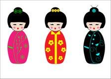 De Japanse poppen van Kokeshi van de Geisha Stock Foto's