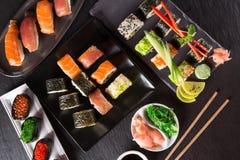 De Japanse reeks van zeevruchtensushi stock foto