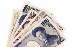 De Japanse rekeningen van de Yenmunt stock fotografie