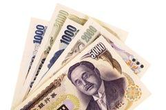 De Japanse rekeningen van de Yenmunt stock afbeeldingen
