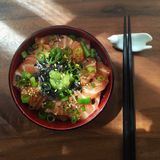 De Japanse rijst van de sashimizalm Royalty-vrije Stock Afbeelding