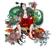 De Japanse Samoeraien met blad en draak tatoeëren volledig lichaam Hand getrokken Traditionele Japanse mensenvector vector illustratie