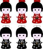 De Japanse uitdrukkingen van geisha houten poppen Royalty-vrije Stock Foto