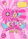 De Japanse uitnodiging van de anime cosplay partij Leuke kawaiikarakters en punten Stock Afbeeldingen