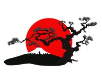 De Japanse vector van het landschapssilhouet Stock Foto's