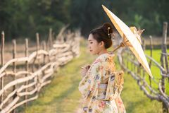De Japanse vrouwen dragen de paraplu's van de kimonoholding stock foto