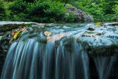 De Japanse Waterval van de Tuin Stock Foto