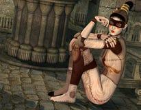 De Japanse zitting van het cyborgmeisje door de kant Royalty-vrije Stock Foto's
