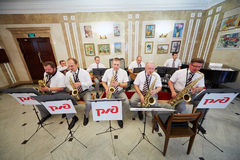 De jazz-band presteert in lounge Stock Afbeeldingen