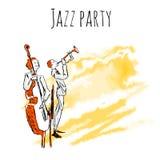 De jazzmusici spelen trompet en contrabas op een waterverfachtergrond Vector de affichemalplaatje van de jazzpartij met exemplaar stock illustratie