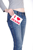 De jeans van de liefde stock foto's