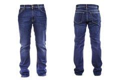 De jeans van mensen op wit worden geïsoleerd dat stock afbeeldingen