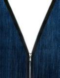 De jeansdoek van de ritssluiting unzipp Stock Afbeelding