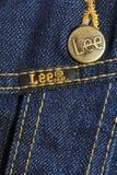 De jeansjasje van het merk Royalty-vrije Stock Foto's