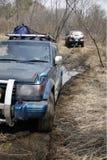 De jeep werd geplakt in de modder Royalty-vrije Stock Fotografie