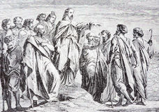 De Jesus Sends Out His Disciples-lithografie door kunstenaar Scheuchl 1907 Royalty-vrije Stock Afbeelding