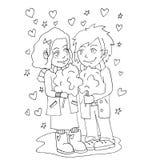 De jeugd viert liefde, eerste liefde, de eerste tekening van de kus jonge hand voor het kleuren Stock Afbeelding