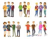 De de jeugdgroep tienersvector groepeerde tienerjarenkarakters van meisjes of jongens samen en jonge studentengemeenschap royalty-vrije illustratie