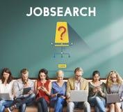 ` De Job Search Occupation Recruitment We con referencia a concepto de alquiler Foto de archivo libre de regalías