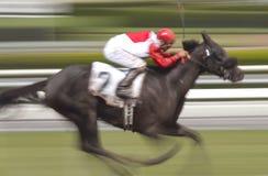 De Jockey en het Paard van het Onduidelijke beeld van de motie royalty-vrije stock foto