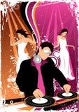 De jockey van de disco en dansende meisjes Stock Foto