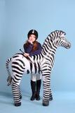 De jockeydromen van het roodharigemeisje van paarden Royalty-vrije Stock Fotografie