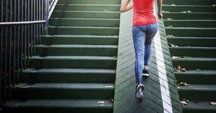De jogging van Exercise Running van de Famaleatleet Dame Concept Stock Foto's