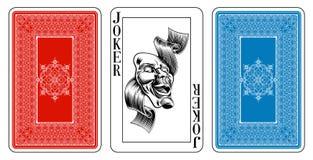 De Jokerspeelkaart van de bruggrootte plus omgekeerde Stock Afbeeldingen
