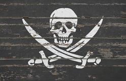 ` de Jolly Roger del ` de la muestra de la bandera de pirata Foto de archivo