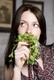 De jonge aantrekkelijke donkerbruine vrouw van het portret Royalty-vrije Stock Afbeelding