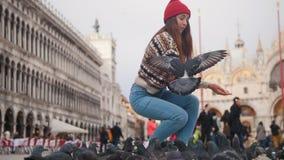 De jonge aantrekkelijke vrouw hurkt in het vierkant op de achtergrond van kerk en werpt brood bij een troep van duiven stock footage