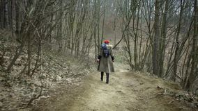 De jonge aantrekkelijke vrouw met rode hoed wandelt in bos stock videobeelden