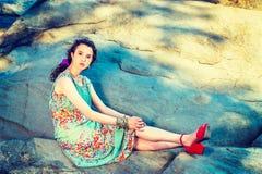 De jonge Amerikaanse Manier van de Vrouwenzomer in New York stock foto's