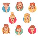 De jonge avatars van vrouwenmeisjes vectorreeks van de portretinzameling Royalty-vrije Stock Afbeeldingen