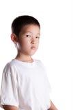 De jonge Aziatische Jongen met Verstoord kijkt Royalty-vrije Stock Afbeeldingen