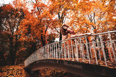 De jonge ballerina danst in het de herfstpark in de ochtend Royalty-vrije Stock Fotografie