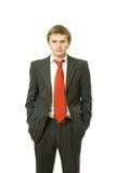 De jonge BedrijfsMens met van hem dient Zakken in royalty-vrije stock foto