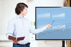 De jonge bedrijfsmens toont op de monitorgrafieken Stock Fotografie