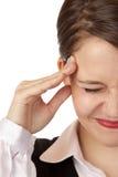 De jonge bedrijfsvrouw heeft sterke migraine royalty-vrije stock foto's