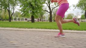 De jonge benen die van de vrouwenagent op spoor lopen stock videobeelden
