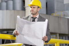 De jonge blauwdruk van de zakenmanholding terwijl het bekijken weg bouwwerf stock fotografie