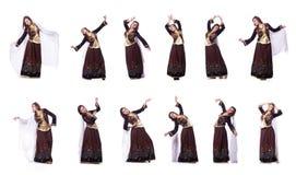 De jonge dame het dansen traditionele azeri dans royalty-vrije stock afbeeldingen