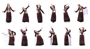De jonge dame het dansen traditionele azeri dans royalty-vrije stock fotografie