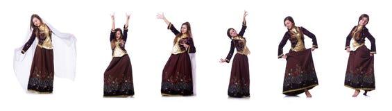 De jonge dame het dansen traditionele azeri dans stock foto's