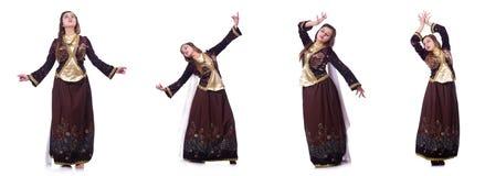 De jonge dame het dansen traditionele azeri dans stock fotografie