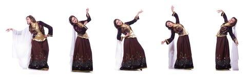 De jonge dame het dansen traditionele azeri dans royalty-vrije stock foto